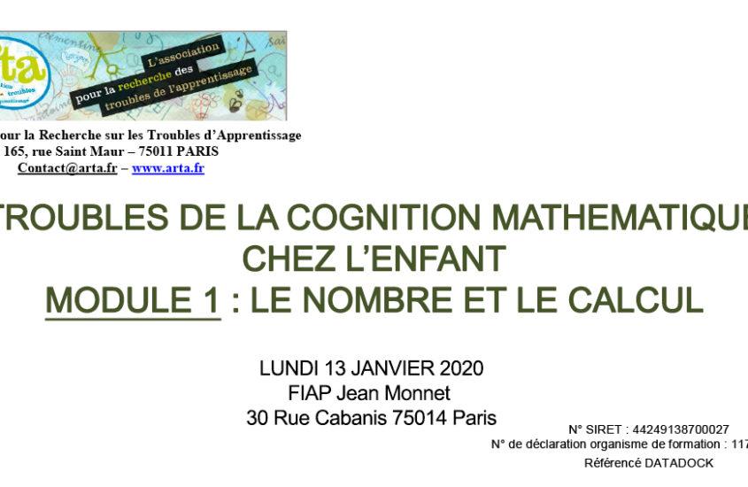 TROUBLES DE LA COGNITION MATHEMATIQUE CHEZ L'ENFANT MODULE 1 : LE NOMBRE ET LE CALCUL